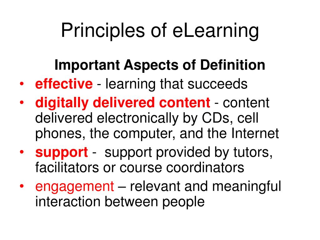 Principles of eLearning
