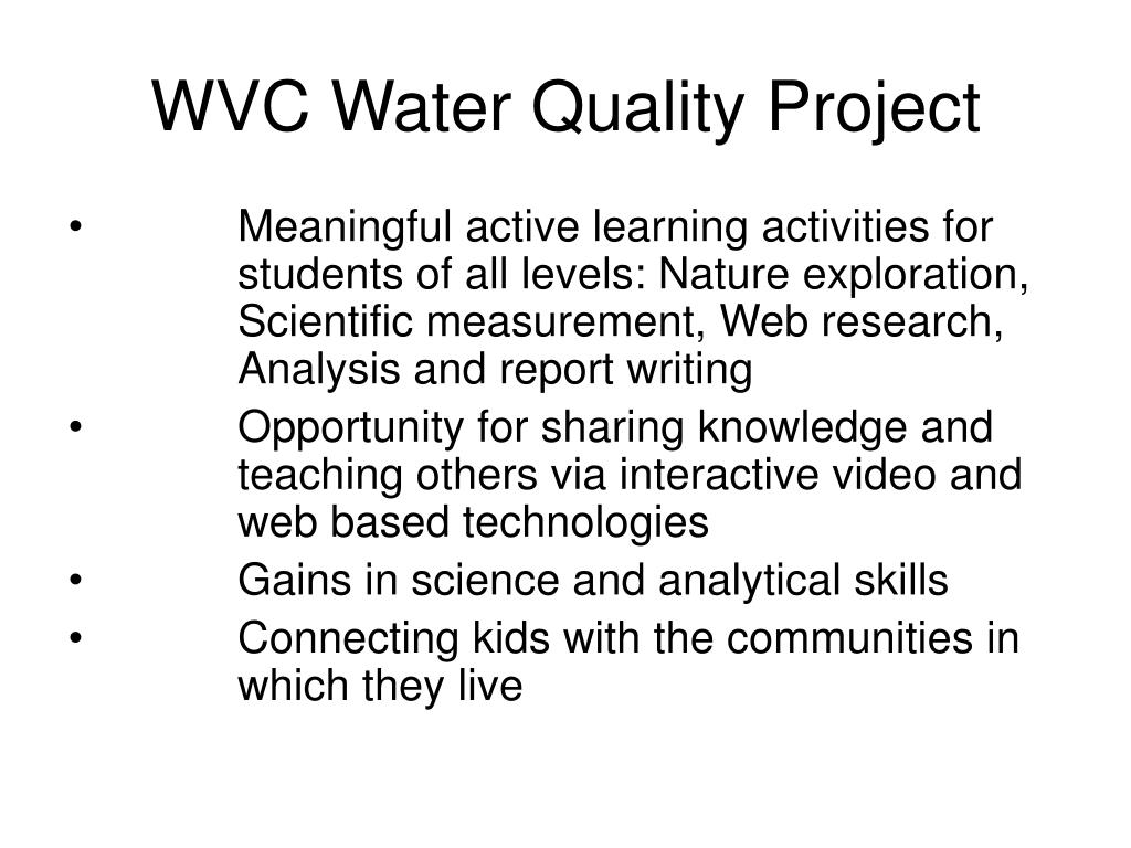 WVC Water Quality Project