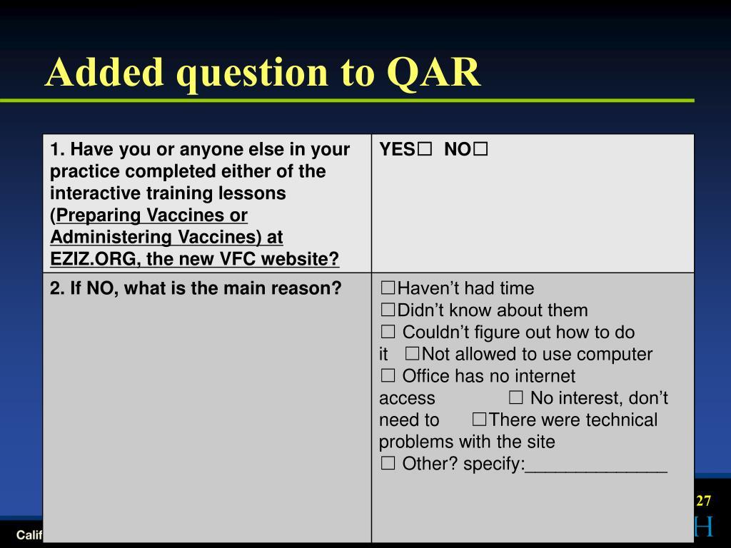 Added question to QAR