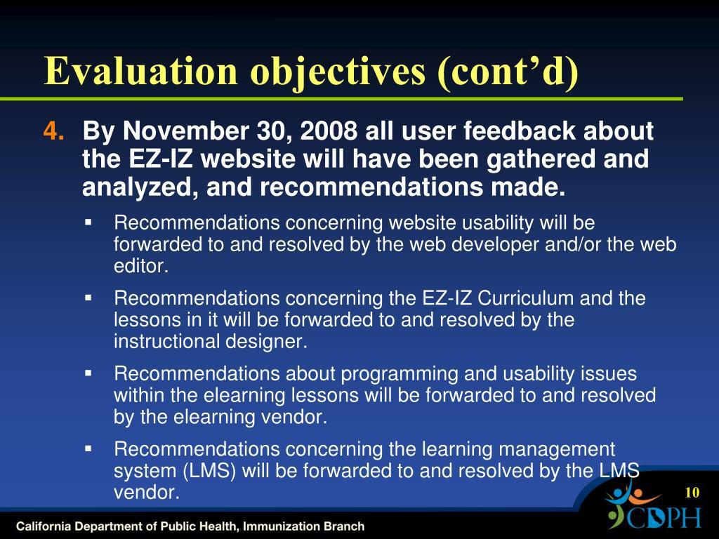 Evaluation objectives (cont'd)