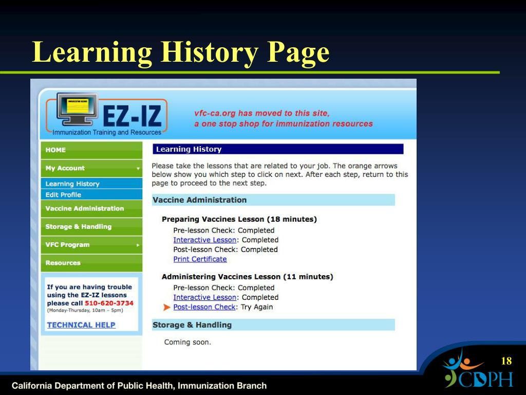 Learning History Page