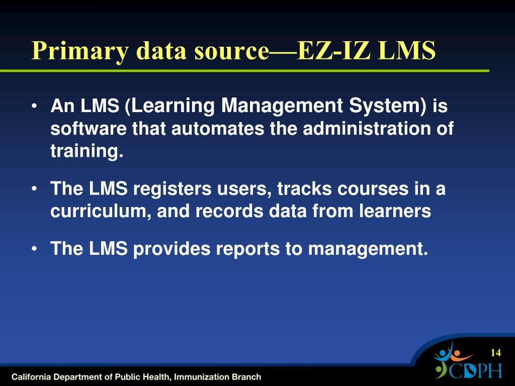 Primary data source—EZ-IZ LMS
