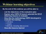 webinar learning objectives