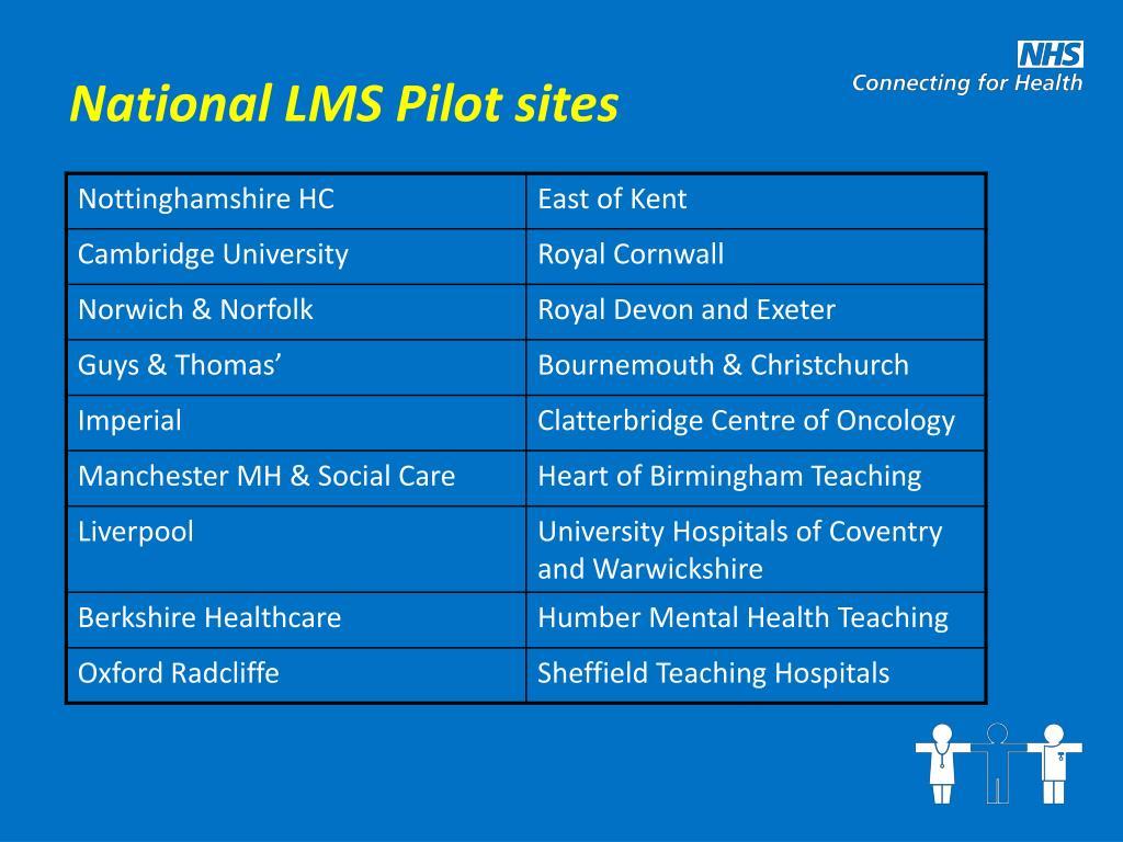 National LMS Pilot sites