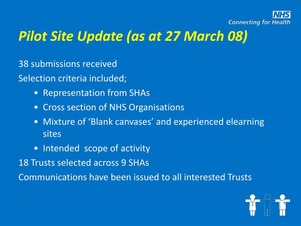 Pilot Site Update (as at 27 March 08)