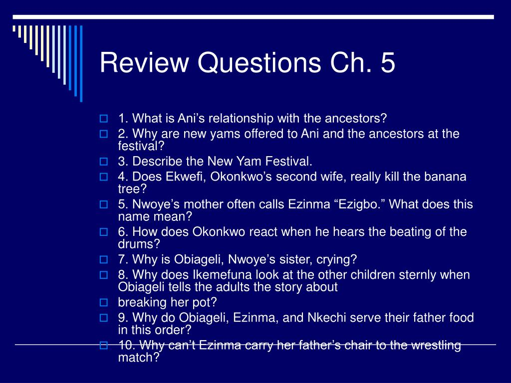 Review Questions Ch. 5