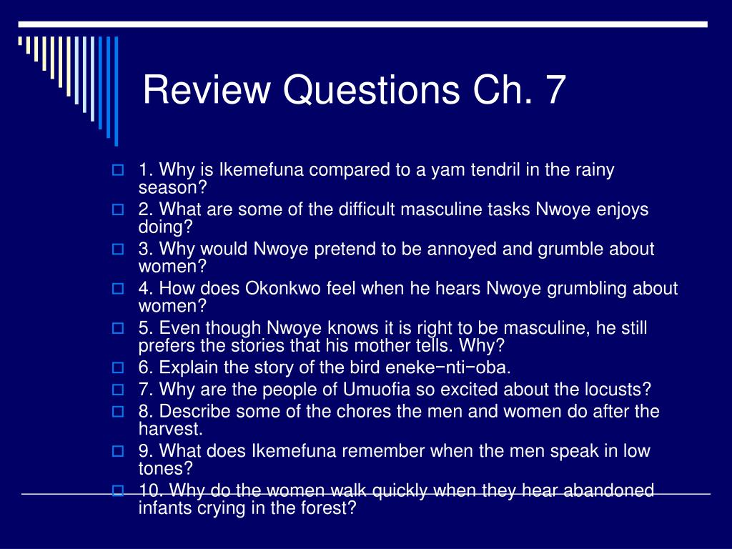 Review Questions Ch. 7