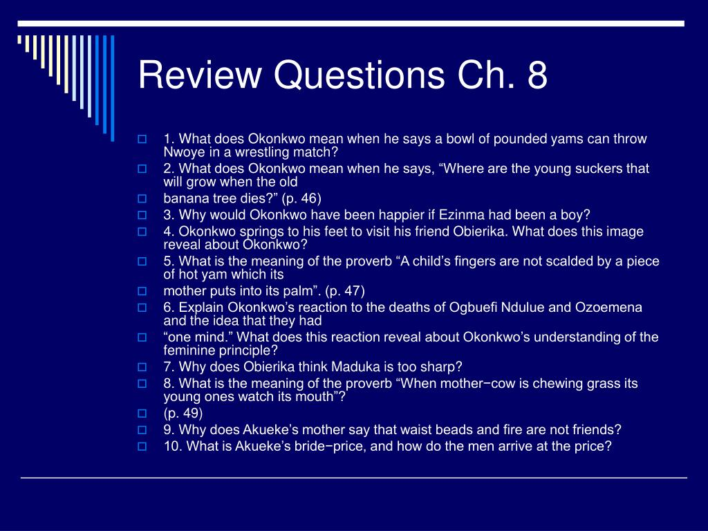 Review Questions Ch. 8