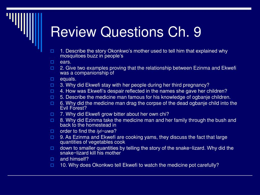 Review Questions Ch. 9