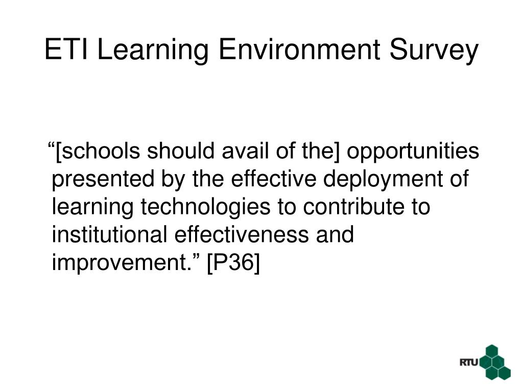 ETI Learning Environment Survey