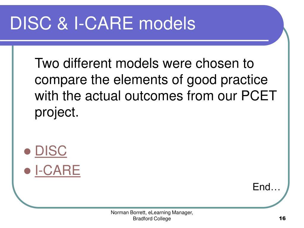 DISC & I-CARE models