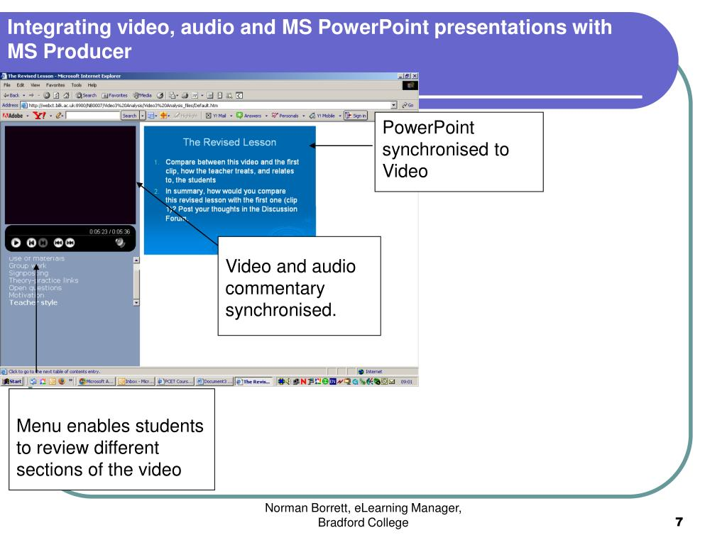 Integrating video, audio and MS PowerPoint presentations with MS Producer