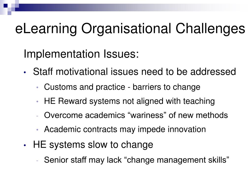 eLearning Organisational Challenges
