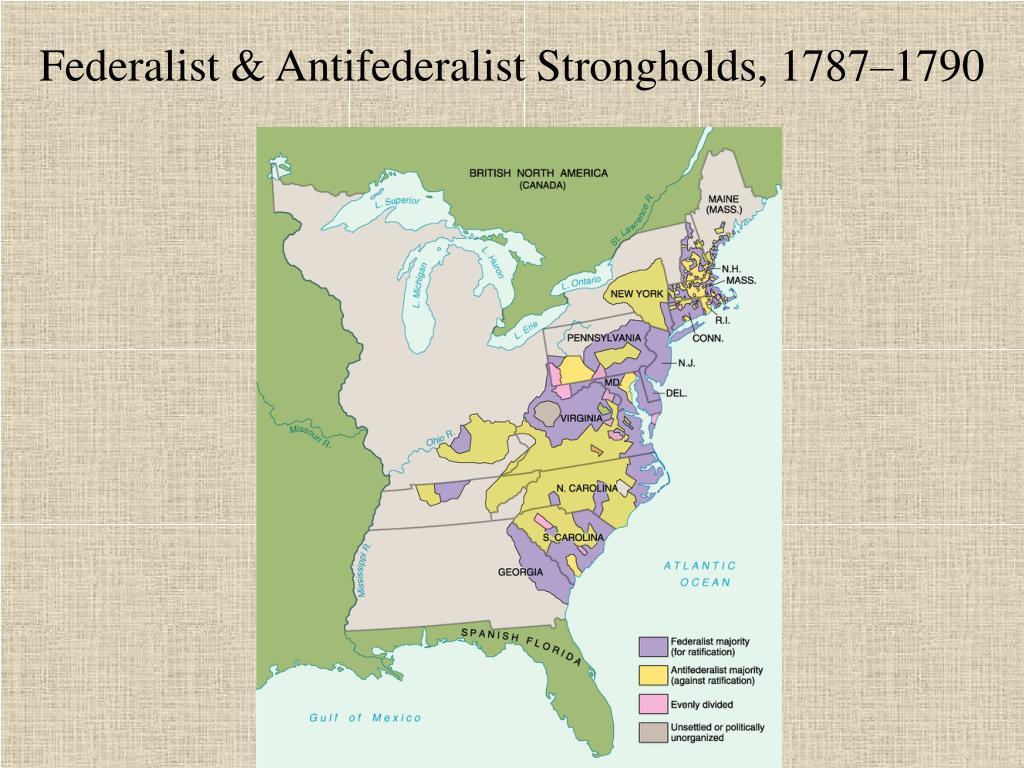 Federalist & Antifederalist Strongholds, 1787