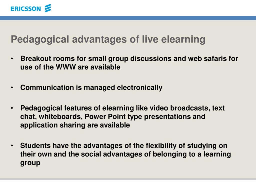 Pedagogical advantages of live elearning