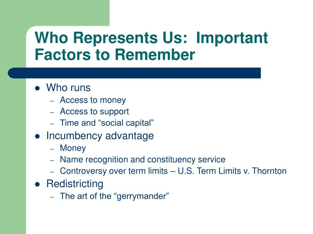 Who Represents Us:  Important Factors to Remember