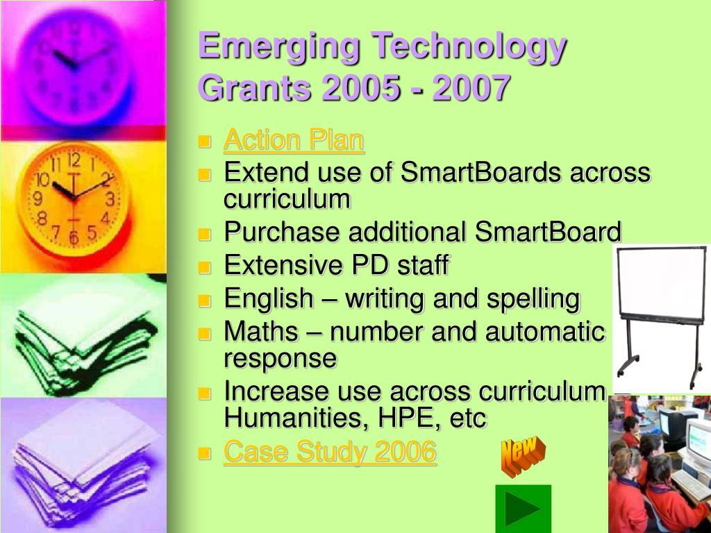 Emerging Technology Grants 2005 - 2007