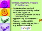 viruses spyware popups phishing etc