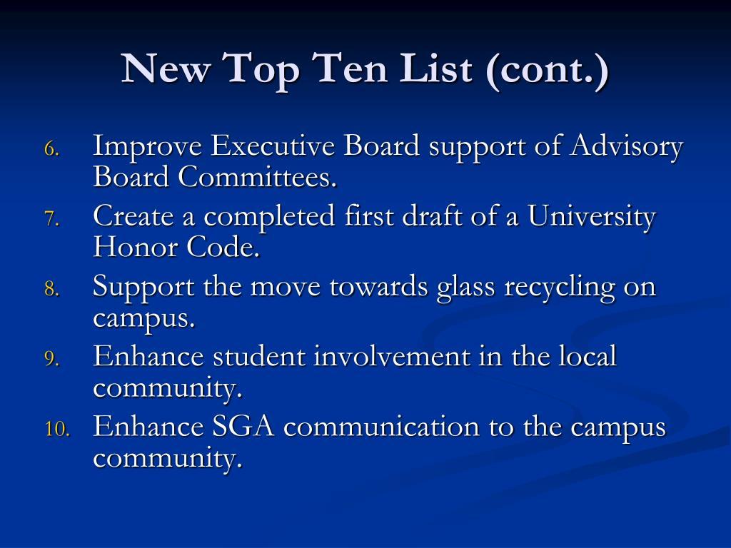 New Top Ten List (cont.)