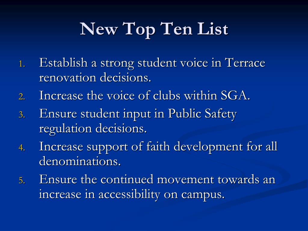 New Top Ten List