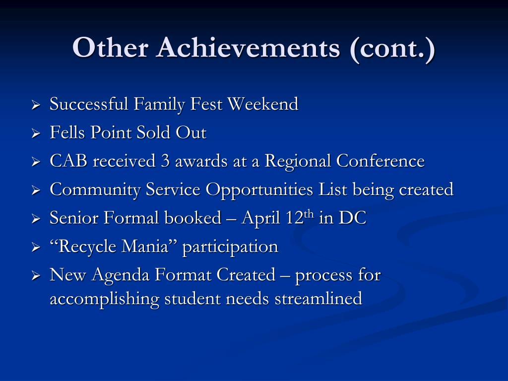 Other Achievements (cont.)