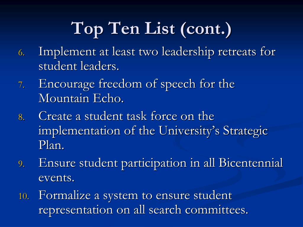 Top Ten List (cont.)