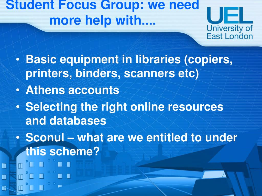 Student Focus Group: we need more help with....