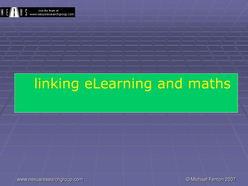 linking eLearning and maths