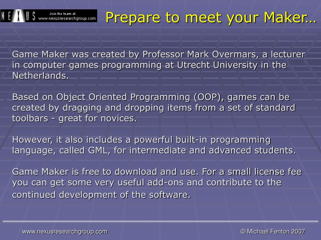 Prepare to meet your Maker…