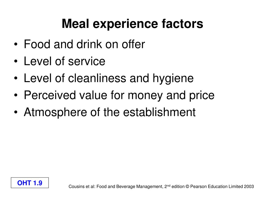 Meal experience factors