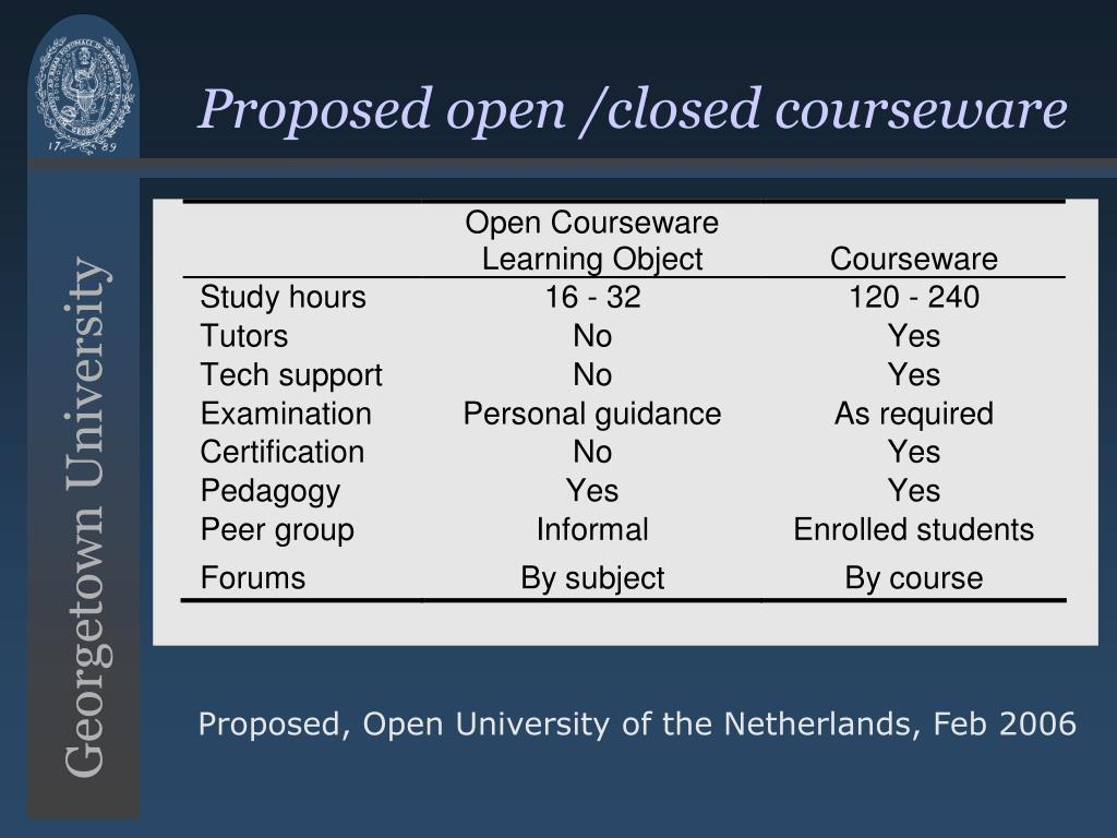 Proposed open /closed courseware