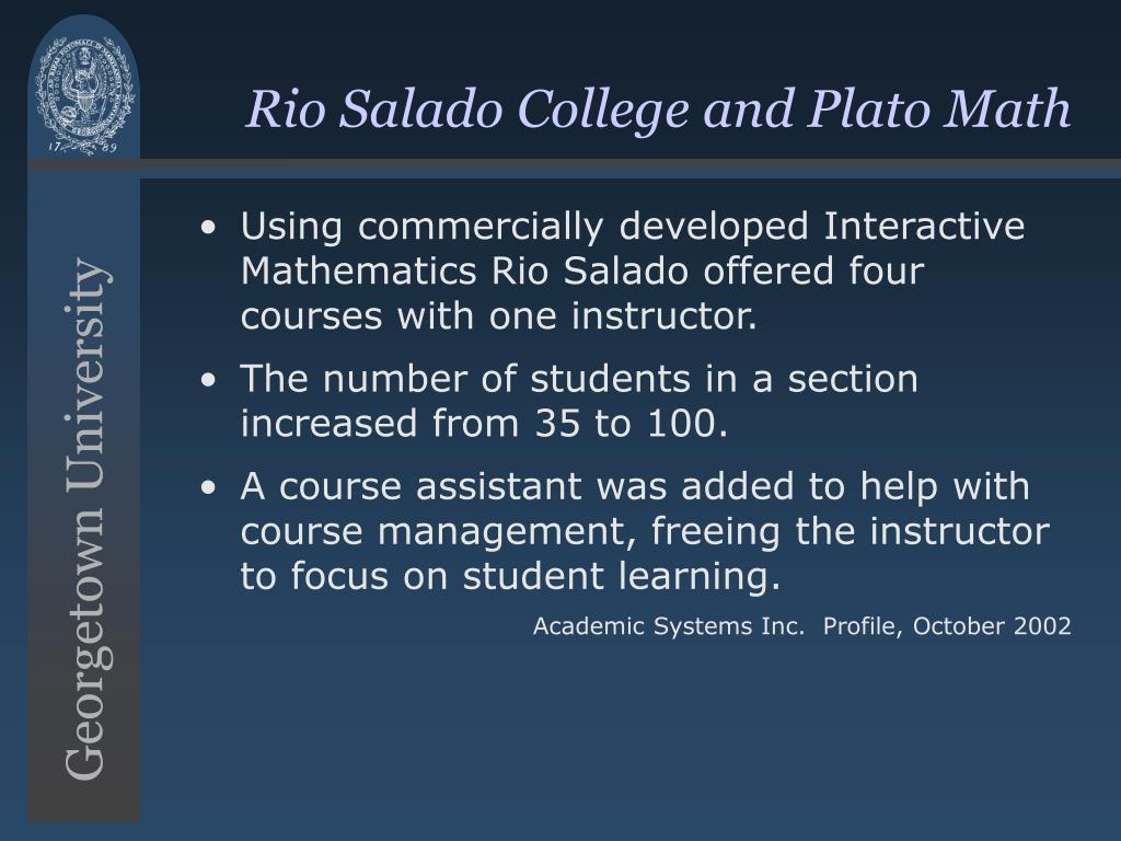 Rio Salado College and Plato Math