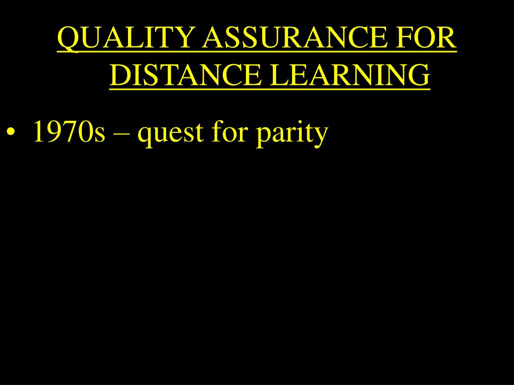 QUALITY ASSURANCE FOR