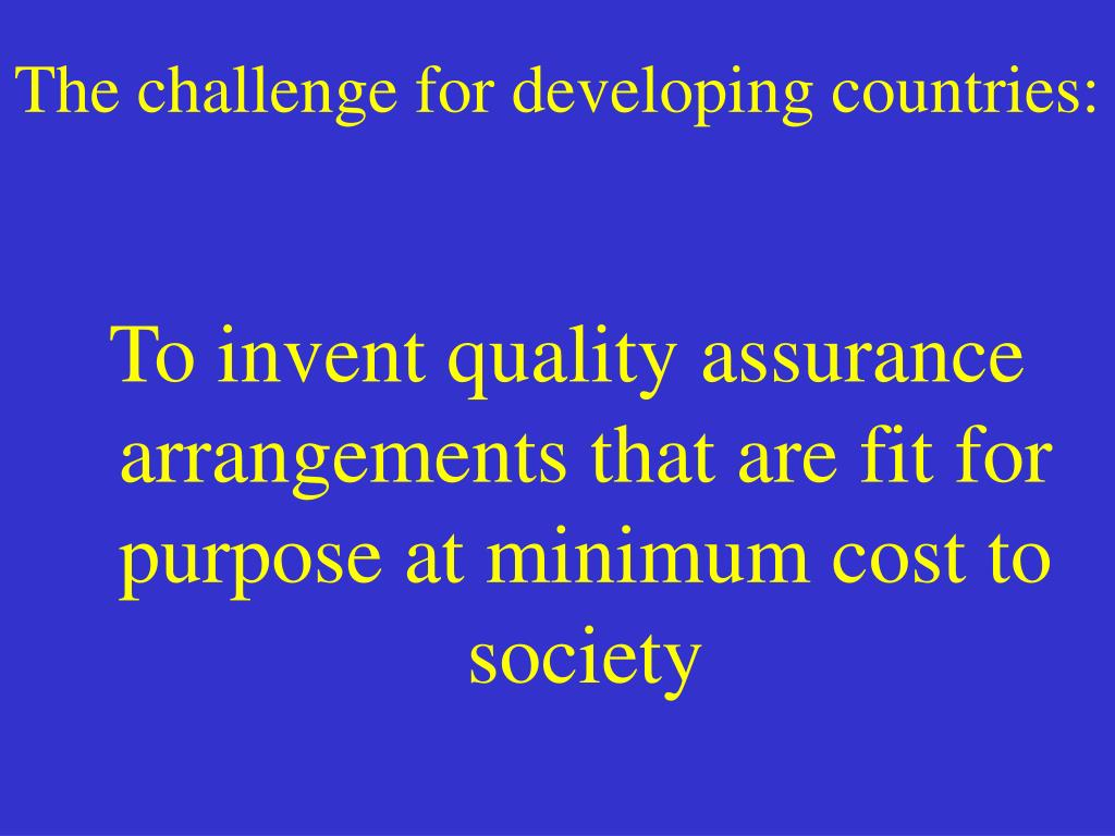 The challenge for developing countries: