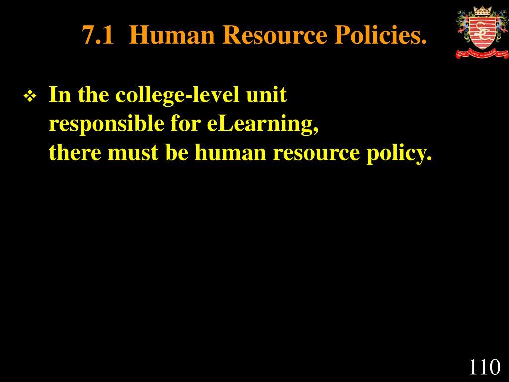 7.1  Human Resource Policies.