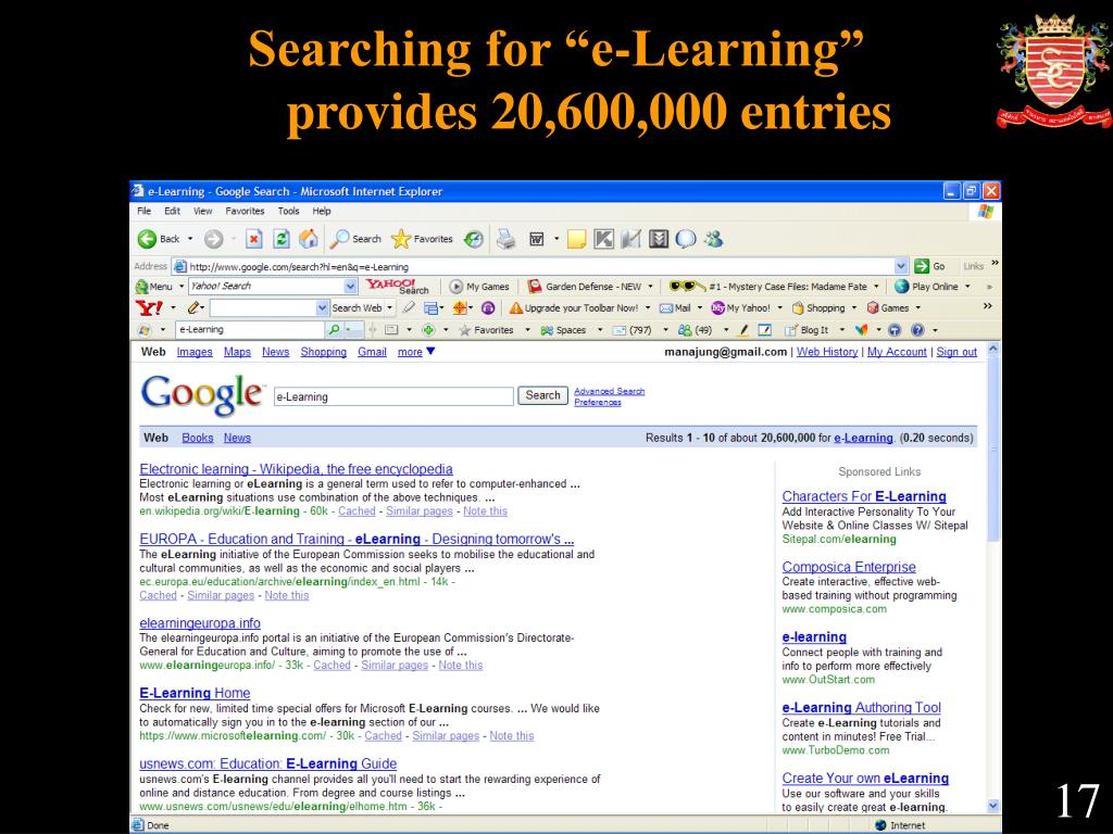 """Searching for """"e-Learning"""""""