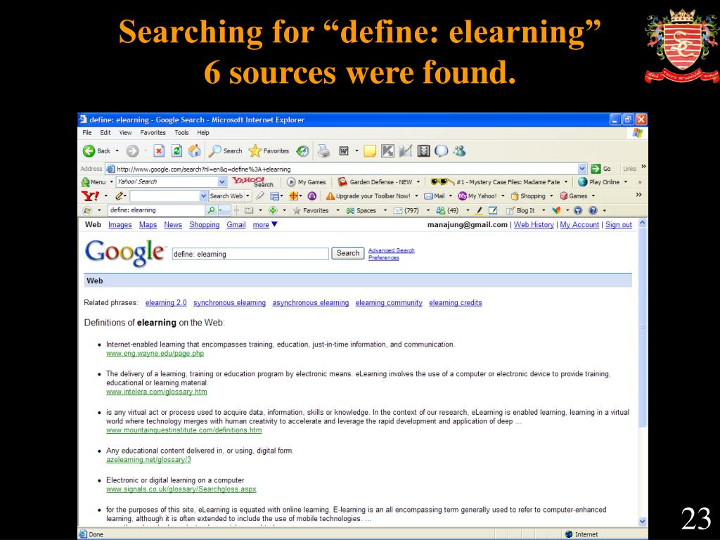 """Searching for """"define: elearning"""""""