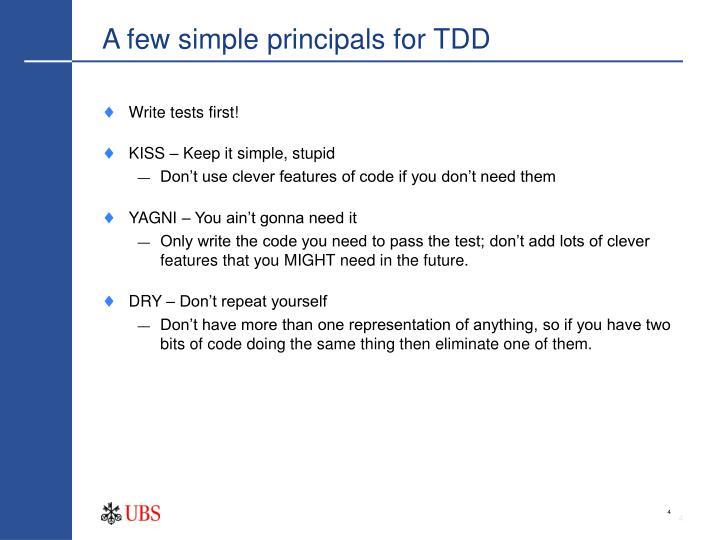 A few simple principals for TDD