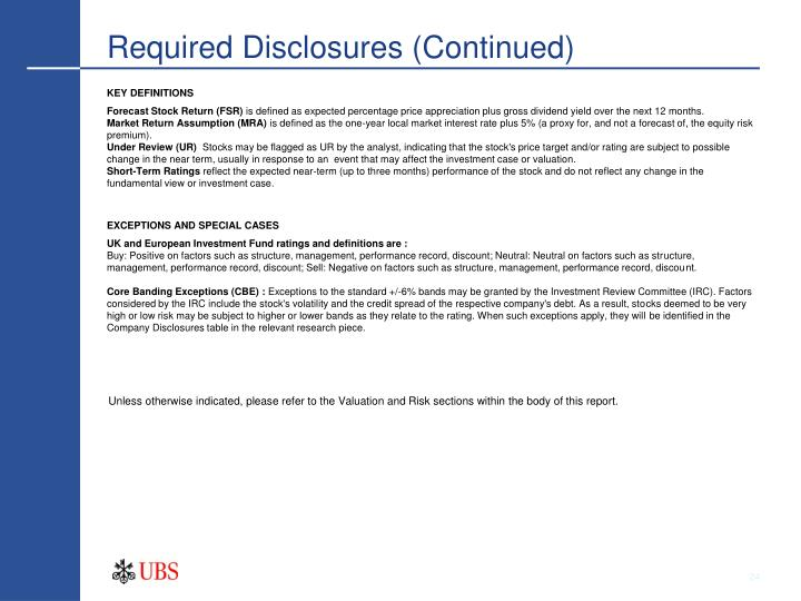 Required Disclosures (Continued)