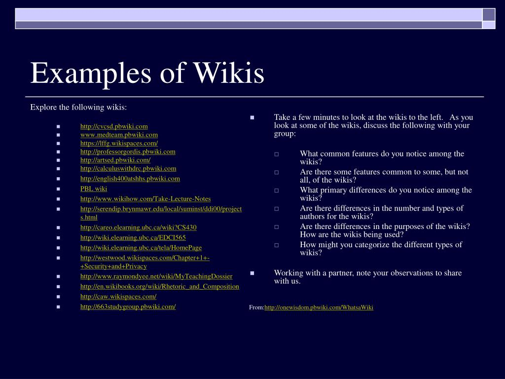 Explore the following wikis: