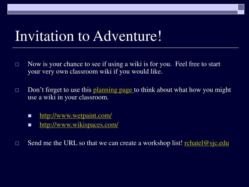 Invitation to Adventure!