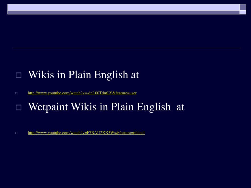 Wikis in Plain English at