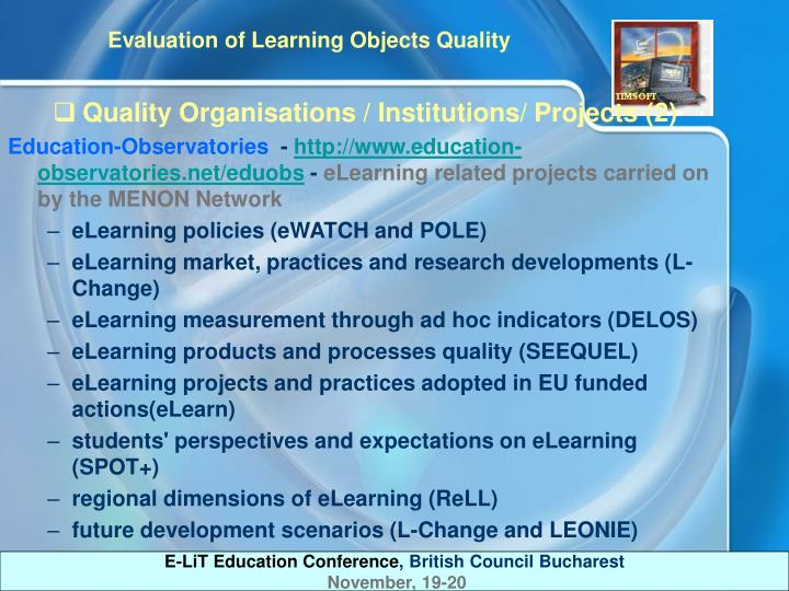 Quality Organisations / Institutions/ Projects (2)