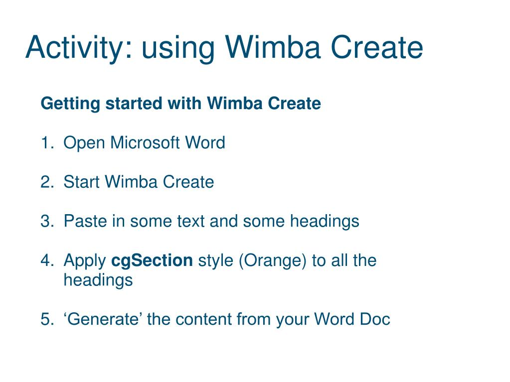 Activity: using Wimba Create