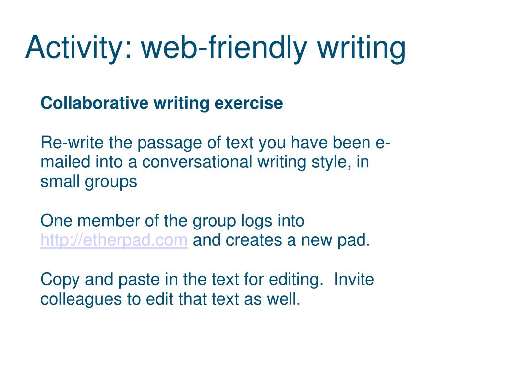 Activity: web-friendly writing
