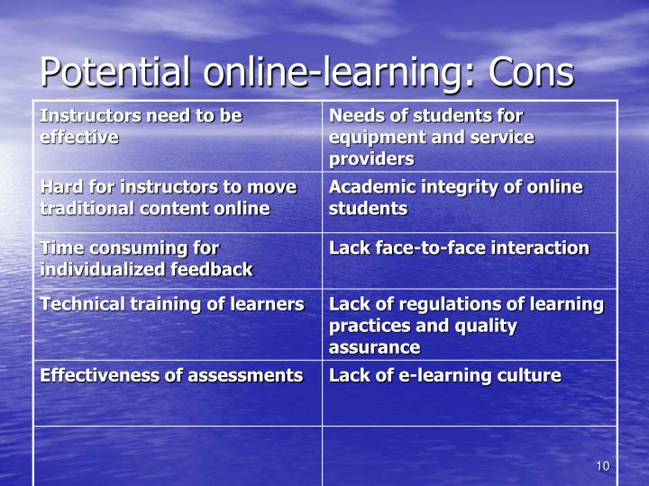 Potential online-learning: Cons