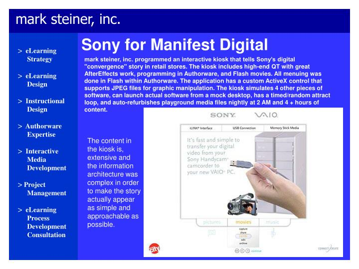 Sony for Manifest Digital