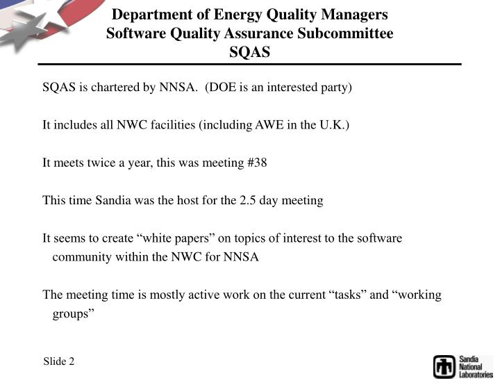 Department of energy quality managers software quality assurance subcommittee sqas