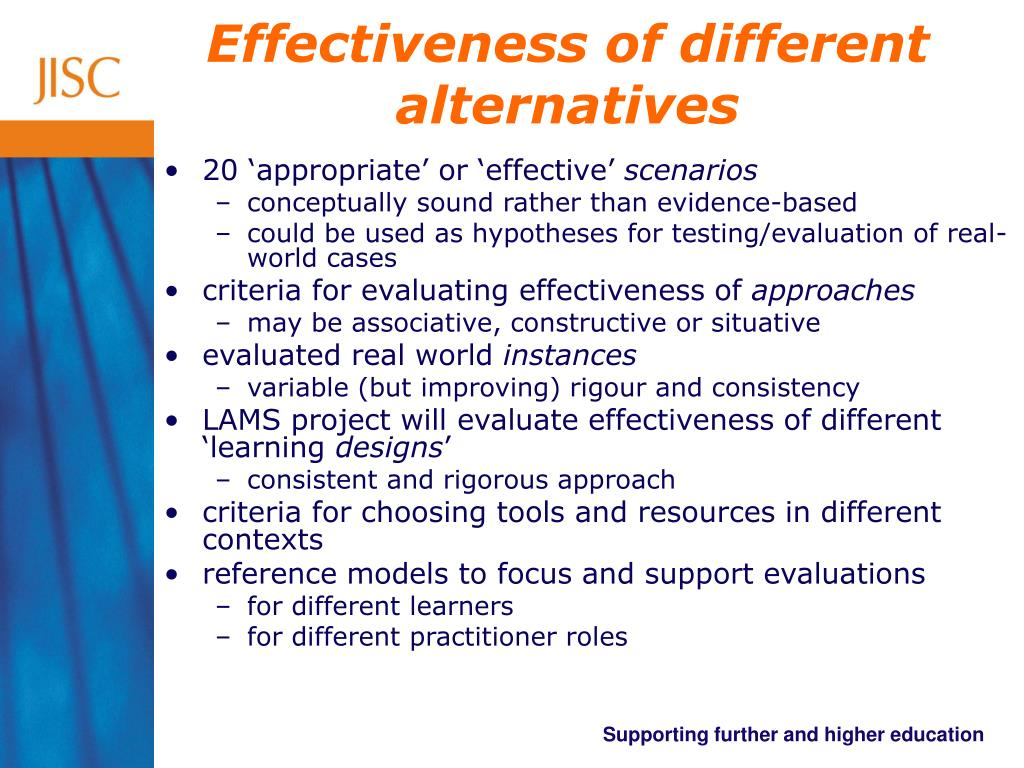 Effectiveness of different alternatives