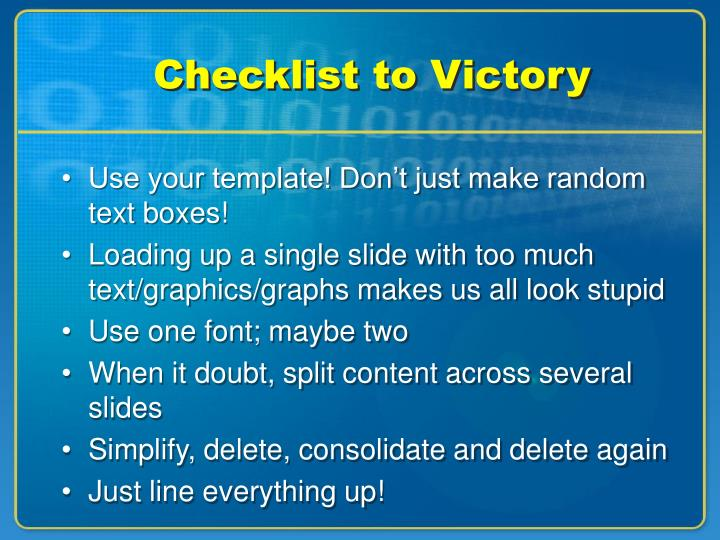 Checklist to victory